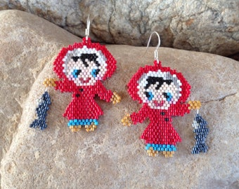 Eskimo Girl with her Catch of the Day Peyote Beaded Earrings