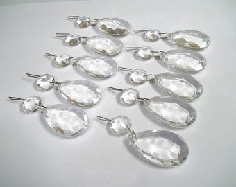 """Excellent Quality Chandelier Crystal Teardrops 1 1/2"""" Lot of TEN (10) 1.5"""" Chandelier Crystal Prism Tear Drops Wedding Decor Jewelry Supply"""
