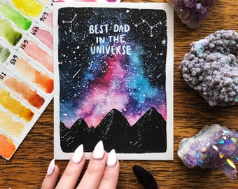 Father's Day - Best Dad in the Universe // Space card // greeting card // galaxy // mountains