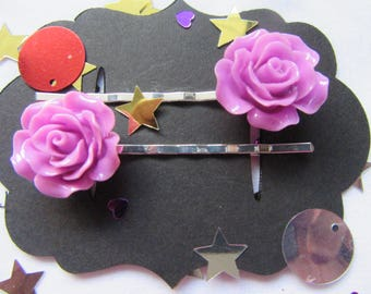 Purple Rose Vintage Hair Bobby Pins