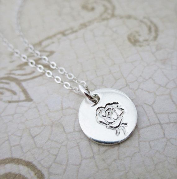 Rose Necklace - Petite Rose - Sterling Silver Rose Necklace - Engraved Rose - Imprinted Rose - Hand Stamped Rose - Layering Necklace
