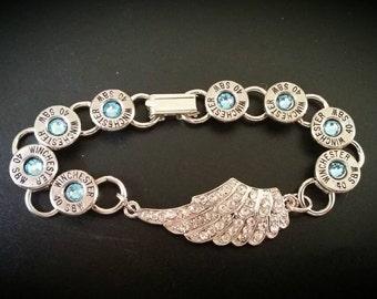Bullet Casing Bracelet w/ angel wing, bullet bracelet , bullet jewelry, bullet casing, winchester bracelet