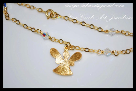 Angel Chain Bracelet Sterling Silver Gold plated Fine Greek Art Handmade Jewelry Swarovski Crystals Best Ideas Gifts Woman Girl Moda Greece