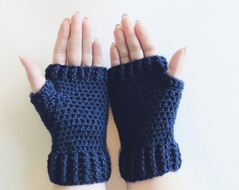 navy fingerless gloves. blue texting mittens. womens hand warmers. crochet wrist warmers. winter accessories. gifts for her fingerless mitts