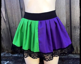 Basic Joker Inspired Gathered Mini Skirt, Size Medium to Large - Ready to Ship - Gothic Batman DC Cosplay Maleficent