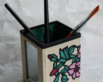 Flower Hanji Pen Holder with Mirror OOAK Handmade Pencil Case Make up Brush Holder Desktop Organizer Pencil Container