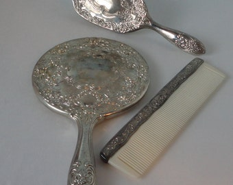 1950s 3 pcs. Child Set Silver tone metal Mirror, Brush and Comb. Child  Vanity Set.