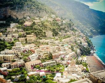 Positano anzeigen - Amalfiküste Fotografie - Italien Kunst, italienische Fotografie - Positano-Color - Positano Italien - Vintage, Retro, rustikal