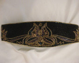 Black & Gold Beaded Belt Accessory Vintage Chic wearable Art Regale M