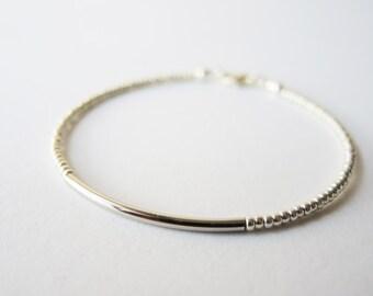 Silver bar beaded bracelet - friendship bracelet