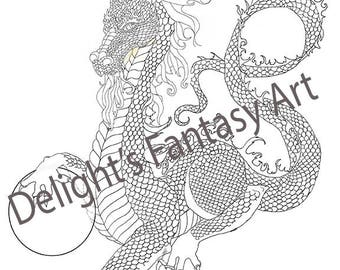 dragon coloring, coloring page, dragon,black and white, line drawing, adult coloring