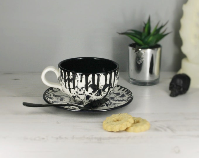 Skull Cappuccino Cup, Cup and Saucer, Tea Lover, Coffee Mug, Gothic Gift, Black Skulls Cups, Hand Painted Ceramic, Unique Present, Weird