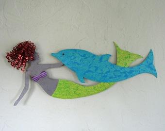 Mermaid Metal Art Ocean Wall Art Decor  Redhead Mermaid and Dolphin Reclaimed Metal Wall Beach House Coastal Aqua Blue 14 x 23