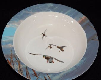 """ON SALE Ducks Unlimited Soup Cereal Bowl Dinnerware Light Blue Rim with Birds in Center White Background Excellent Condition 8 1/4"""" in diame"""
