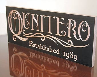 Last Name Established Sign, Personalized Family Name Sign, Last Name Sign, Personalized, Custom Sign, Benchmark Custom Signs, Maple QQ