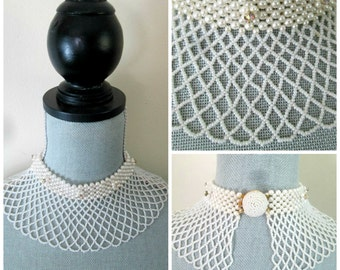 White Seed Bead Pearl Rhinestone Bib Choker Necklace Vintage Mid Century Bride Wedding
