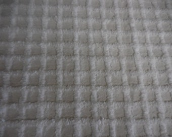 """WHITE on White 3/4"""" SQUARES Vintage Chenille Bedspread Fabric - 21+"""" X 35"""" - #2"""