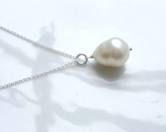 white pearl  teardrop  necklace, bridal necklace, sterling silver, bridal
