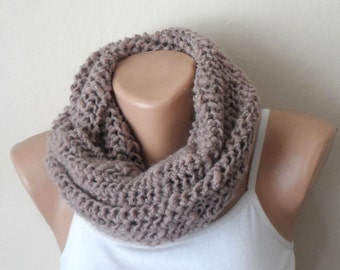 natural rustic knit infinity scarf pinkish beige circle scarf light beige winter scarf loop scarf handmade scarf gifts for her
