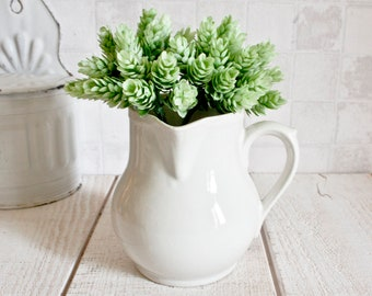 Lovely Vintage French White Ironstone Pitcher || Antique French Pitcher - Shabby Chic Decor