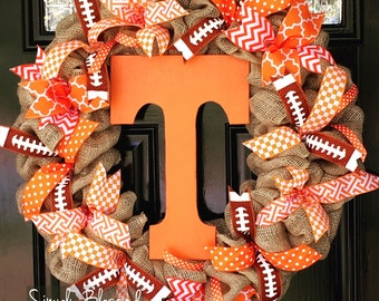 University of Tennessee Vols inspired Burlap Wreath - Football, Basketball, Chevron, Polka Dots - Volunteers, UT