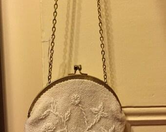 SALE!! 1950's Walborg White Beaded Handbag Hand Made In Hong Kong.