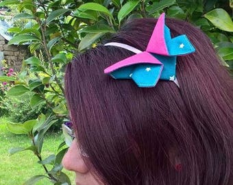 Origami Butterfly headband pink and blue
