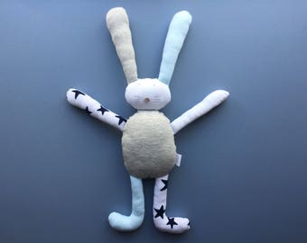 Personalised gift flopsy bunny rabbit soft toy cuddly toy handmade baby boy newborn gift baby gift baby shower gift blue stars easter gift