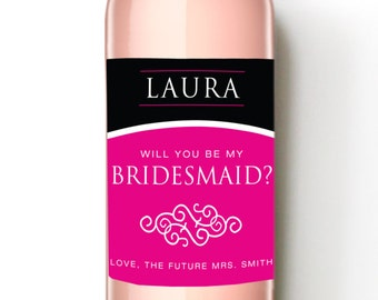 Bridal Party - Wine Label - Bridesmaid Gift - Maid of Honor Gift - Matron of Honor Gift - WEATHERPROOF and REMOVABLE - Wedding Wine Bottle