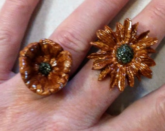 Pyrite & Mica Resin Flower Rings