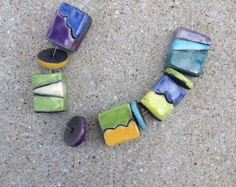 raku beads, abstract design, funky