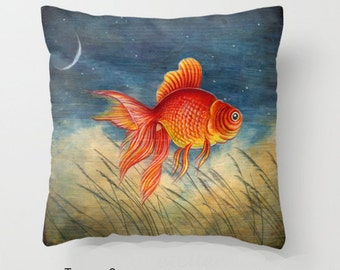 """Throw Pillow Cover with pillow insert Indoor..PRINT. animal art - woodland art - fine art -living room - childrens  """""""" rED fISH """""""""""