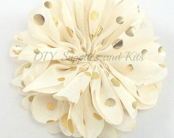 Ivory gold polka dot chiffon flower - 2.5 inch fabric flower - Ballerina ruffle flower - Ivory flowers - Hair flower - Appliqué flower
