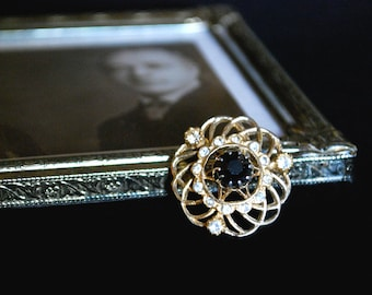 Gold Tone Brooch with Large Black Rhinestone and Clear Rhinestones, Gift for Her