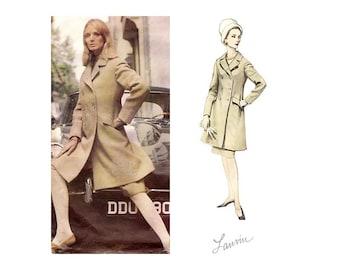 1960s Vintage Sewing Patterns, Lanvin Vogue Paris Original 1422, Womens Double Breasted Coat, Slim Skirt & Jumpsuit Pattern