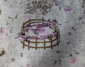 Free Shipping-Vintage Printed Hankie with Pink Angels Inside Corral #101
