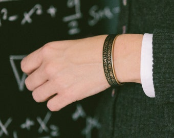 Pi Bracelet - Science Jewelry - Mathematical Cuff Bracelet - Geeky Gift - Math Maths - Gifts For Him Or Her - Boyfriend Gift