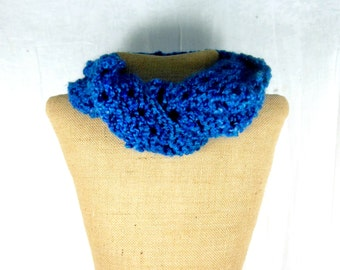 Womens knit scarf, blue infinity scarf, hand knit scarf, women's blue scarf,cowl neck scarf,women's knit cowl, blue neck warmer