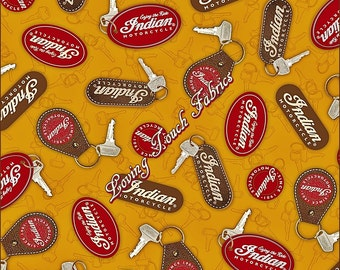 """Quilting Treasures """"Classic Indian"""" Motorcycle #1649-23591-S Key Rings Cotton Fabric 1/2 Yd 18"""" x 44"""""""
