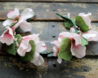Dogwood Faerie Flower & Leaf Crown - Wreath - Tiara - Headband