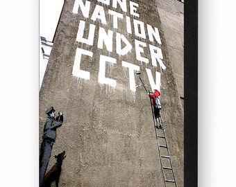 Banksy One Nation Under CCTV 6 x 4 Inches ( 15 x 10 cm ) Postcard Size Block Mounted Print