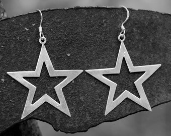 Big star earring, 925 sterling silver