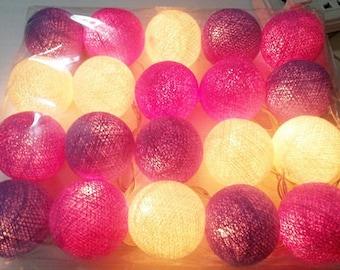 string lights purple tone cotton ball 20 party patio fairy decor wedding
