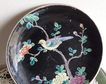 Very vintage Nippon Plate Black w/Bird