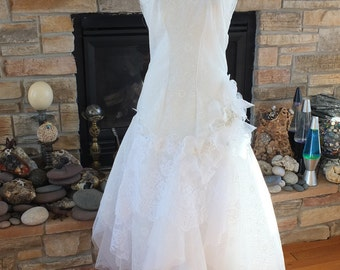 hANDMADE 1920S inspired flapper Wedding Dress art deco lace bridal gown
