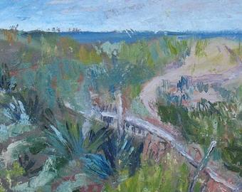 Beach scene GICLEE ART PRINT 11 x 17 abstract landscape ocean north carolina coast aqua blue green