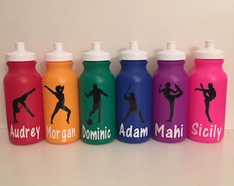 Personalized Kids Party Favor - gymnastics, dance, sports, soccer, basketball, baseball, sports bottles