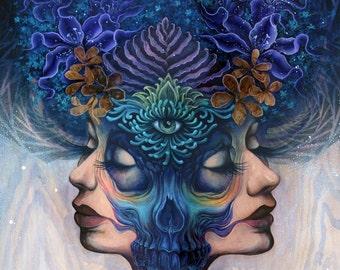 Binary Duality - skull art, fine art print, paper print, poster art, festival art, visionary art, shamanism, enlightened art, illustration