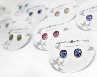 Photo Stud Earrings (single pair). sterling silver & photography