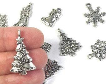 Silver Christmas Charm Set (10), Christmas tree charm, Snowflake charms, silver Christmas charms